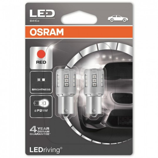 P21W OSRAM LEDriving 12V Red (Pair)