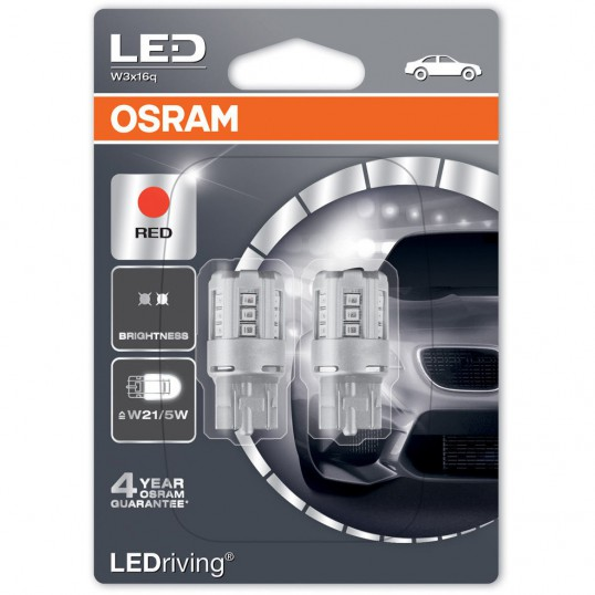 W21/5W OSRAM LEDriving 12V Red (Pair)