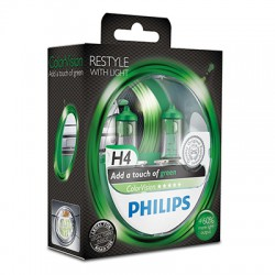 H4 PHILIPS ColorVision Green 3350K (Pair)