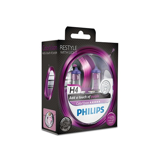 H4 PHILIPS ColorVision Purple 3350K (Pair)