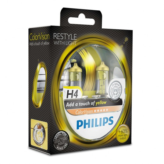 H4 PHILIPS ColorVision Yellow 3350K (Pair)