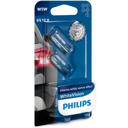W5W PHILIPS 12V WhiteVision (Pair)