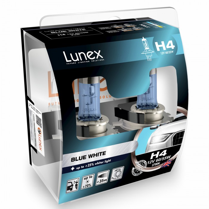 H4 LUNEX BLUE WHITE 3700K (Pair)